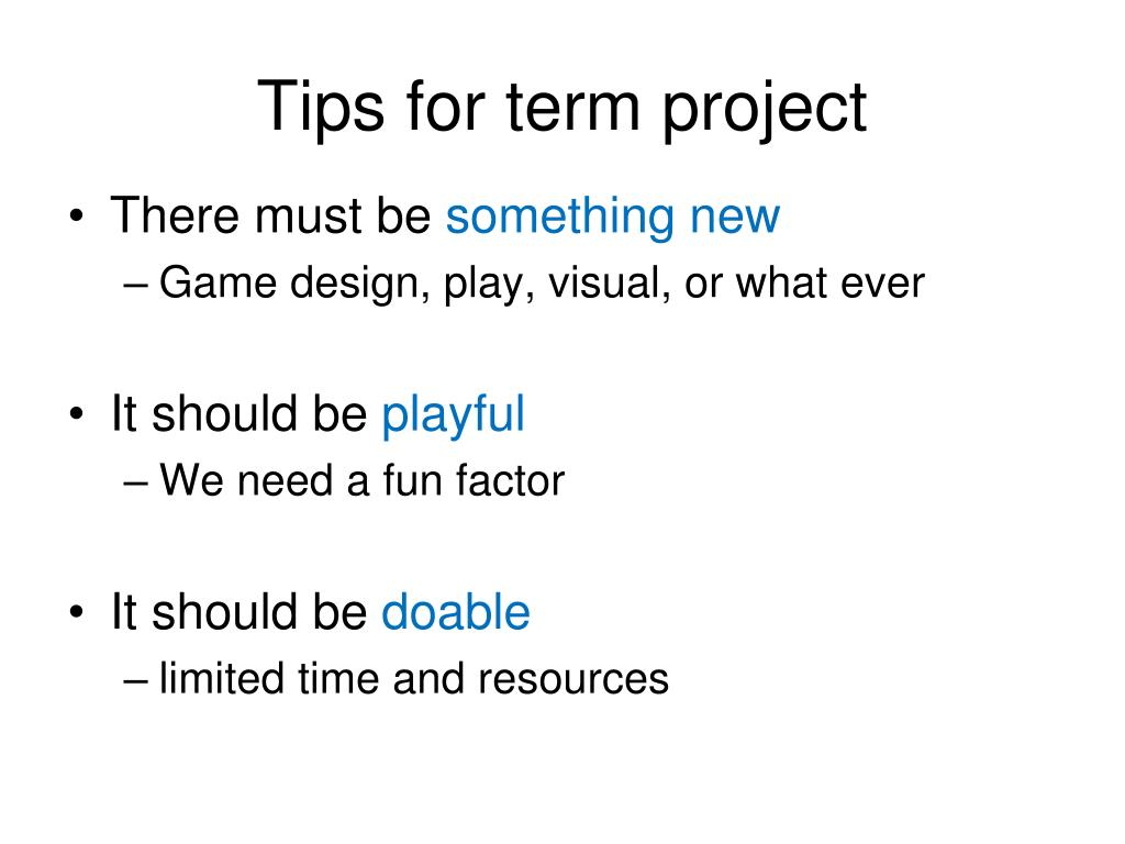 Tips for term project