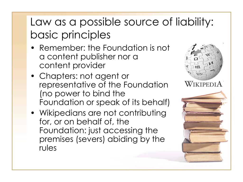 Law as a possible source of liability: basic principles