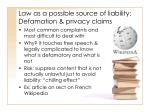 law as a possible source of liability defamation privacy claims