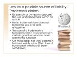 law as a possible source of liability trademark claims