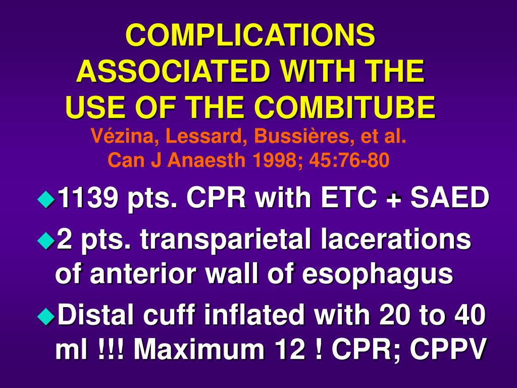 COMPLICATIONS ASSOCIATED WITH THE USE OF THE COMBITUBE