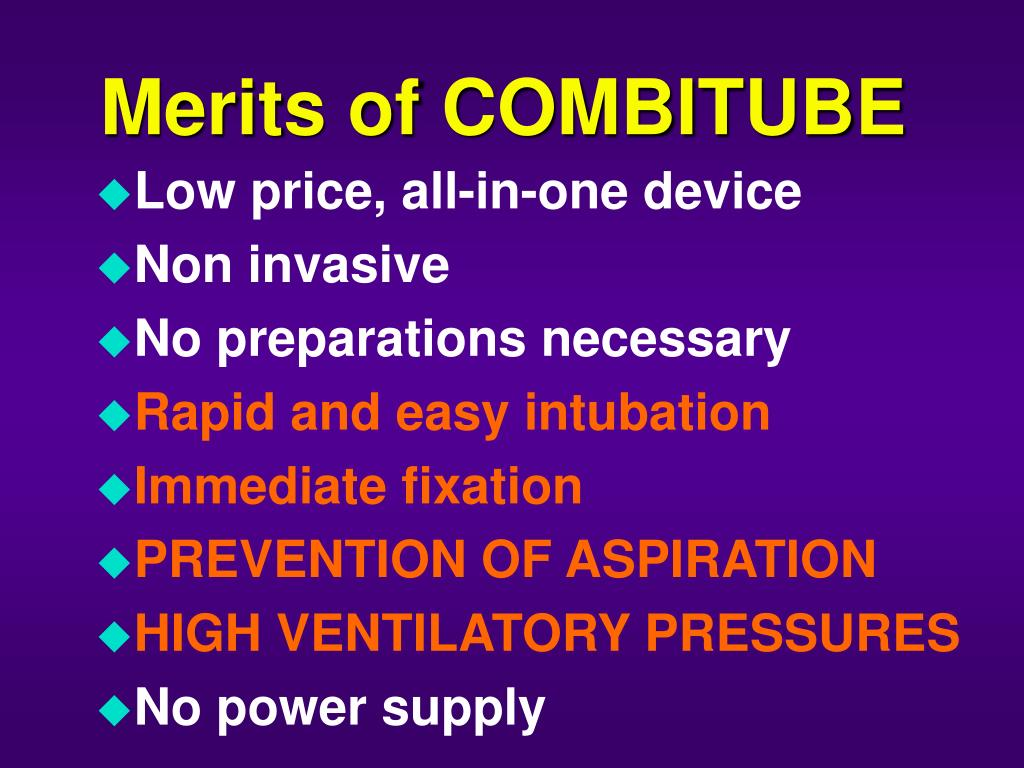 Merits of COMBITUBE