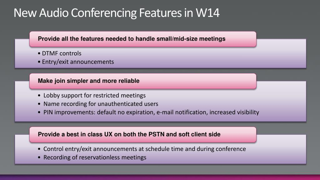 New Audio Conferencing Features in W14