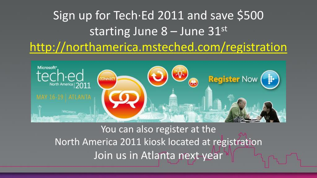 Sign up for Tech·Ed 2011 and save $500