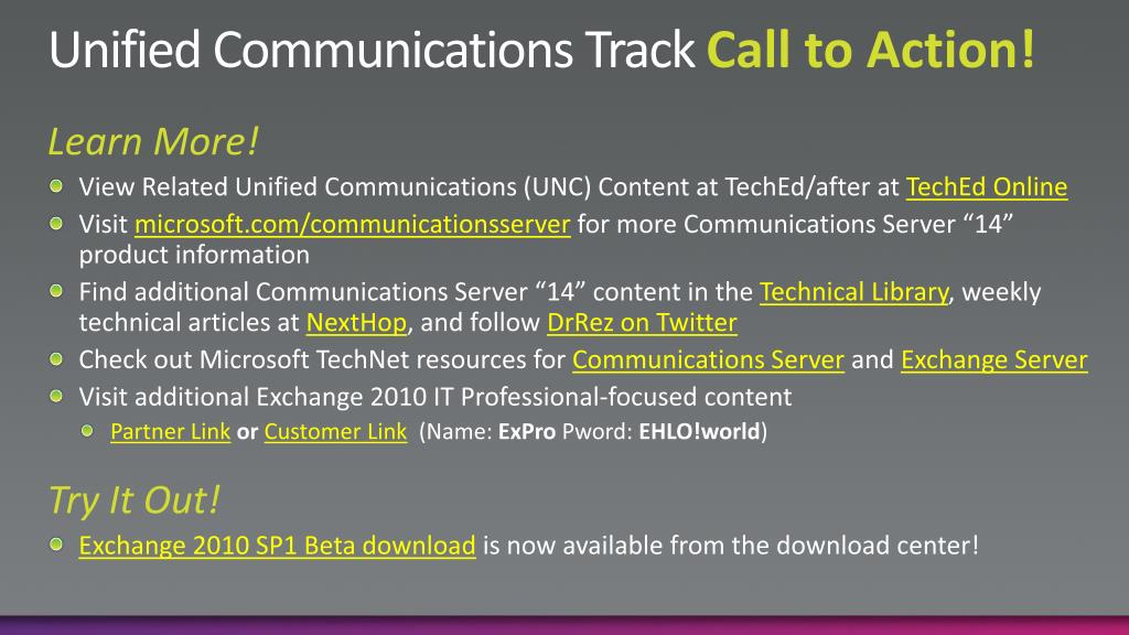 Unified Communications Track