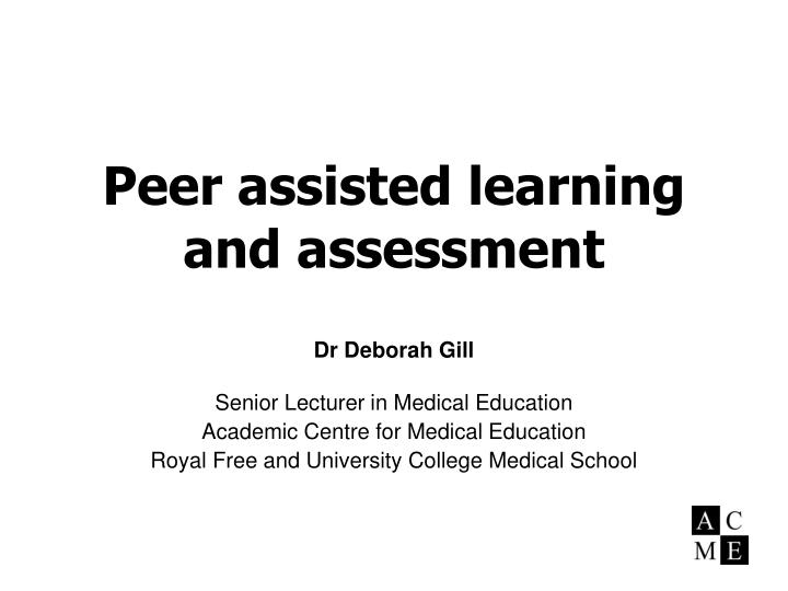 peer assisted learning and assessment n.