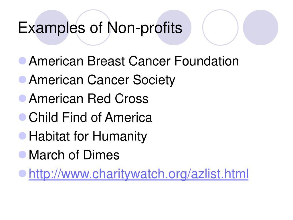 Examples of Non-profits