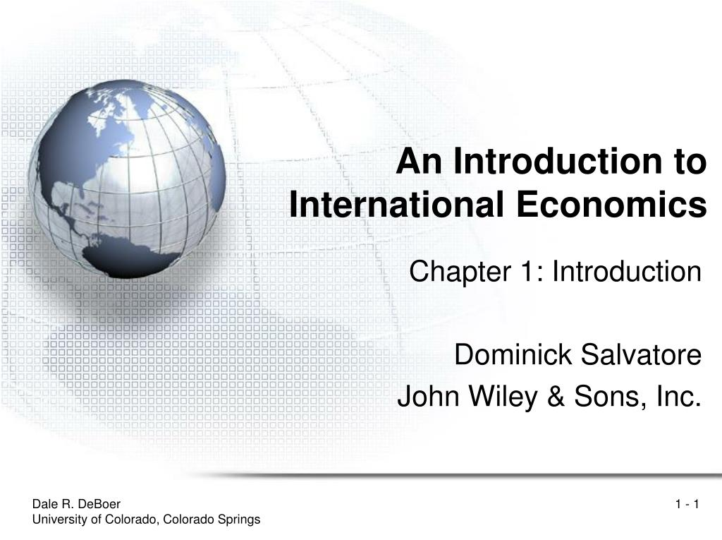 an introduction to international economics l.