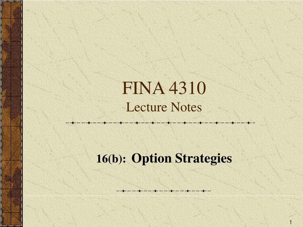fina 4310 lecture notes l.