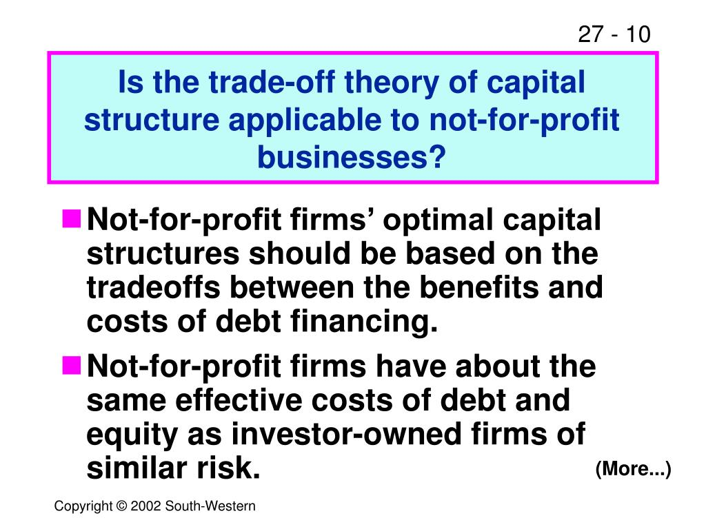 Is the trade-off theory of capital structure applicable to not-for-profit businesses?