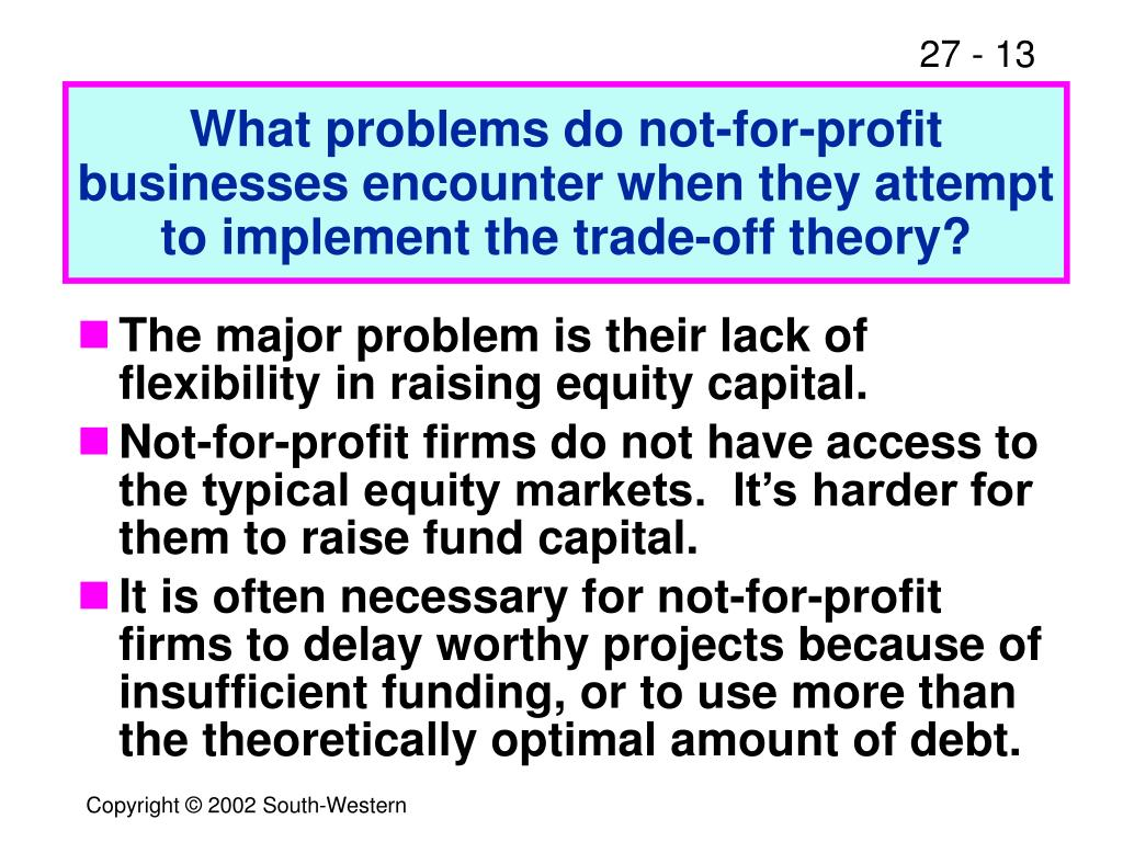 What problems do not-for-profit businesses encounter when they attempt to implement the trade-off theory?