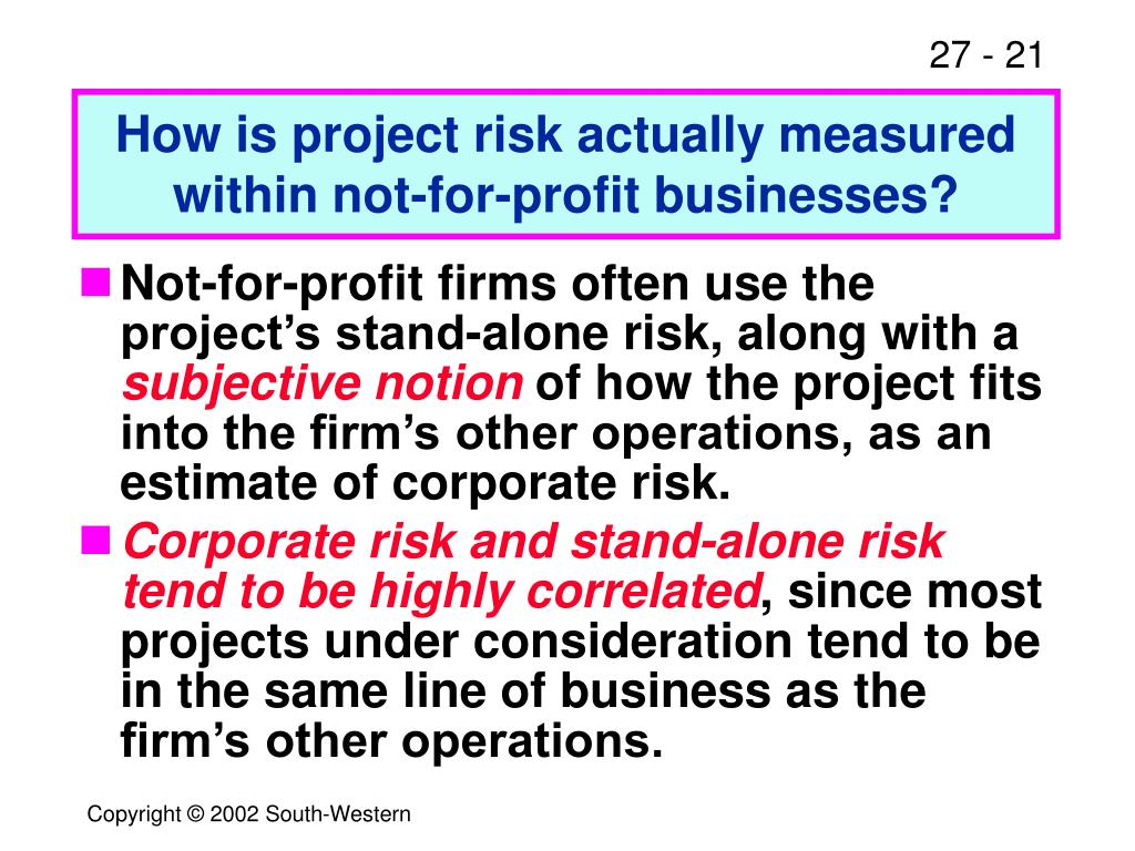 How is project risk actually measured within not-for-profit businesses?