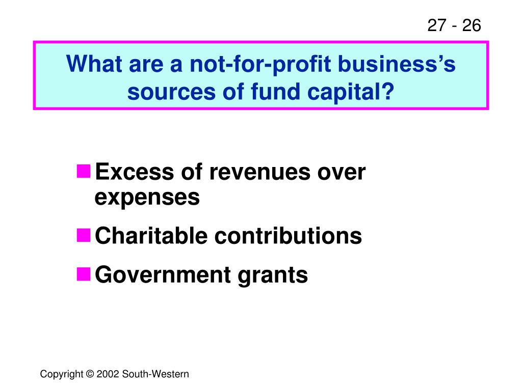 What are a not-for-profit business's sources of fund capital?