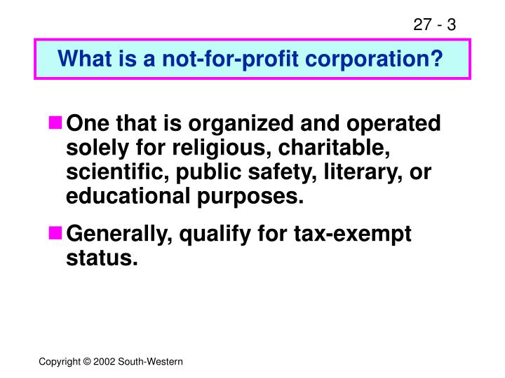 What is a not-for-profit corporation?