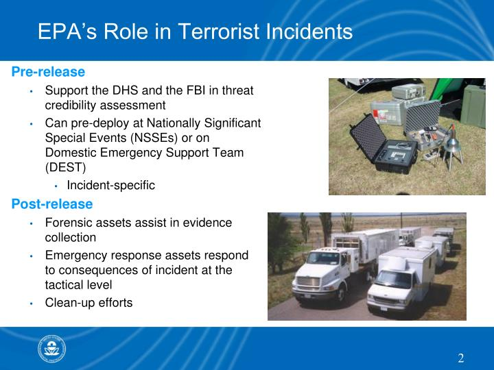 Epa s role in terrorist incidents