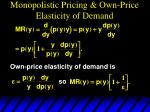 monopolistic pricing own price elasticity of demand15