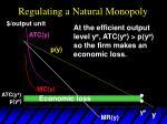 regulating a natural monopoly50