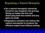regulating a natural monopoly51