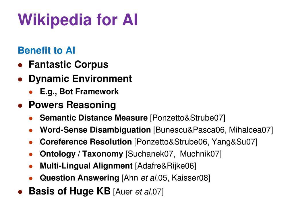 Wikipedia for AI