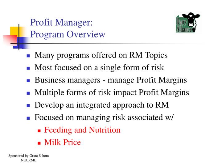Profit manager program overview