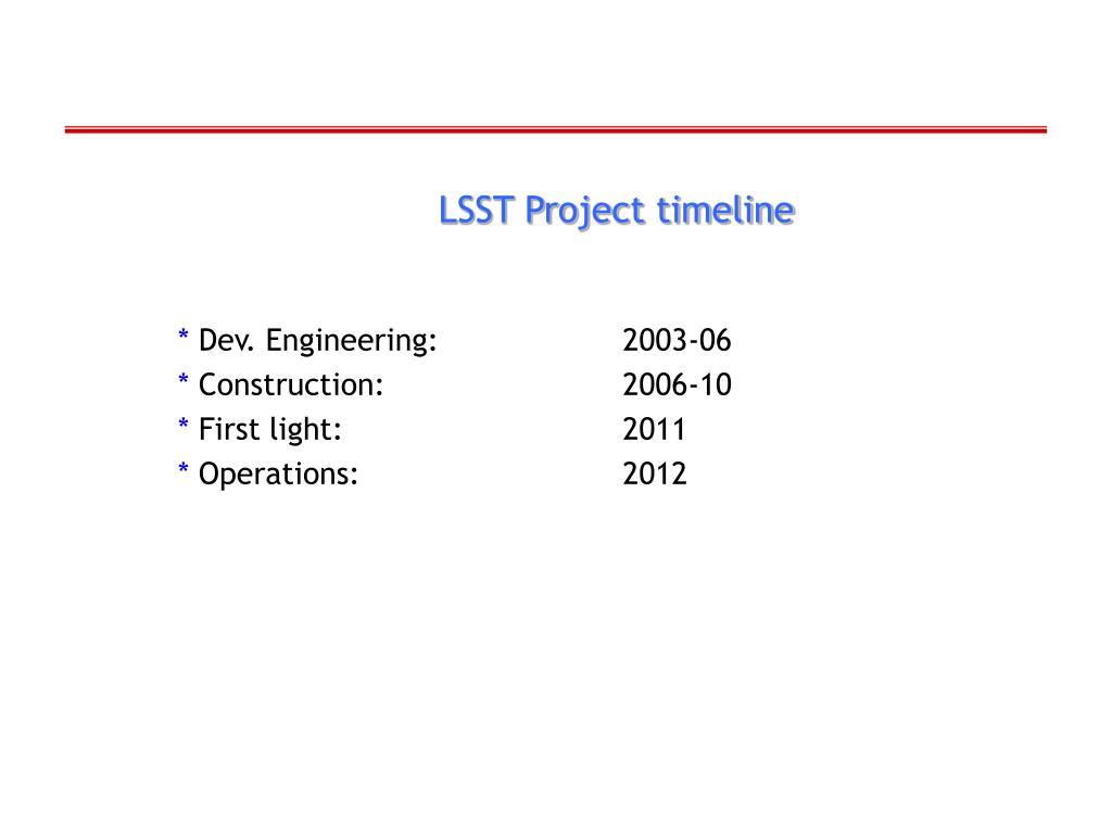 LSST Project timeline