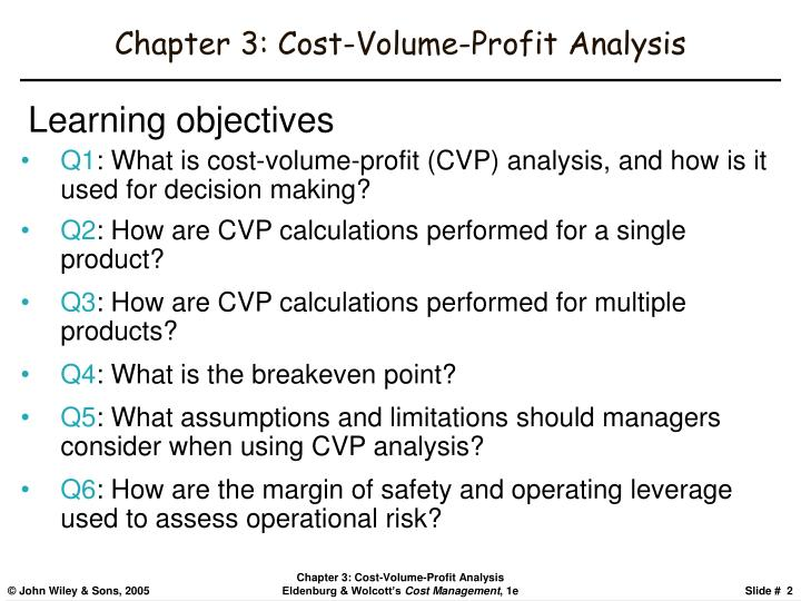 Chapter 3 cost volume profit analysis