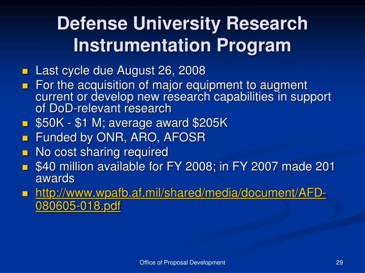 Defense University Research Instrumentation Program