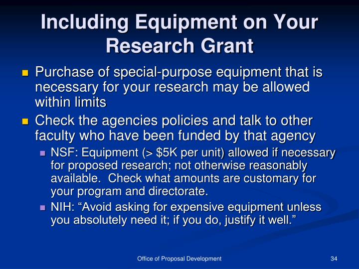 Including Equipment on Your Research Grant