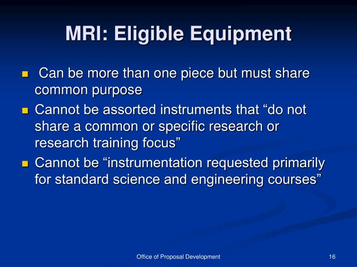 MRI: Eligible Equipment