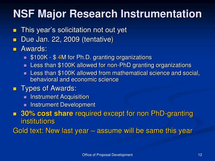 NSF Major Research Instrumentation