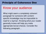 principle of coherence one