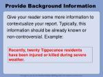 provide background information