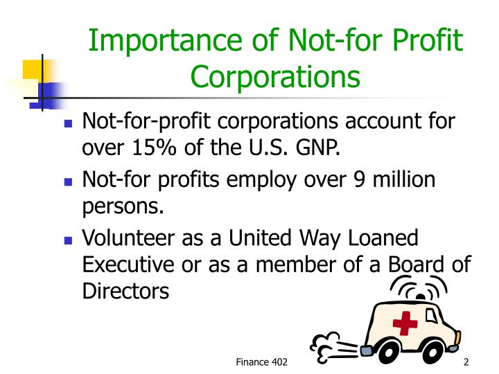 Importance of not for profit corporations