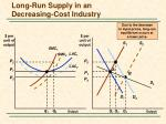 long run supply in an decreasing cost industry