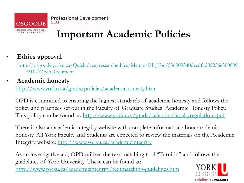 Important Academic Policies