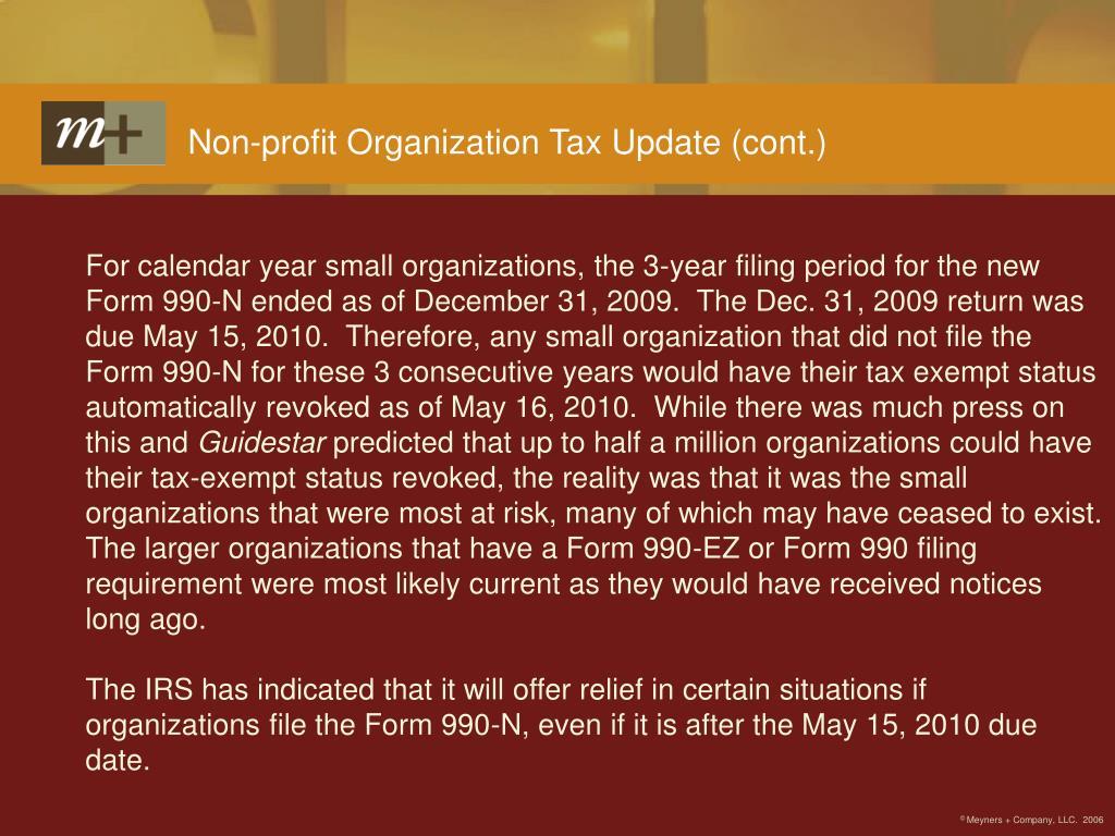 Non-profit Organization Tax Update (cont.)