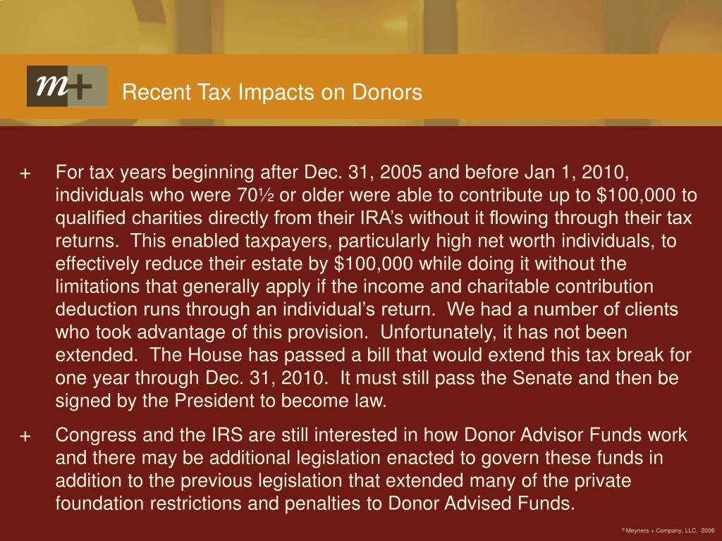 Recent Tax Impacts on Donors