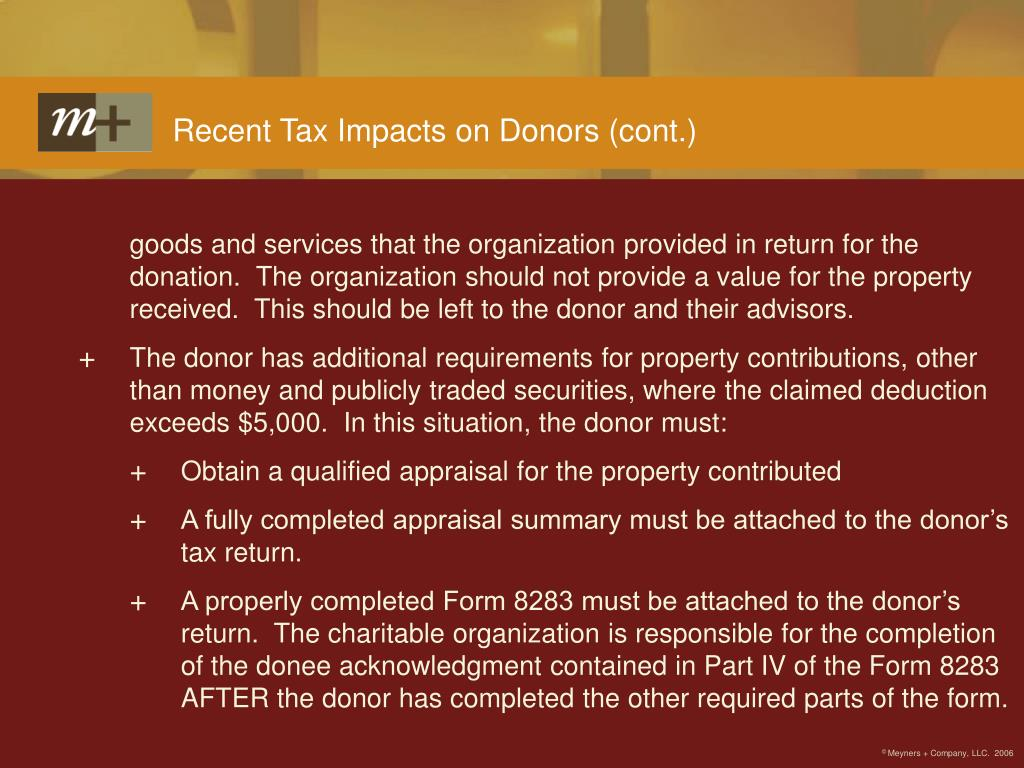 Recent Tax Impacts on Donors (cont.)