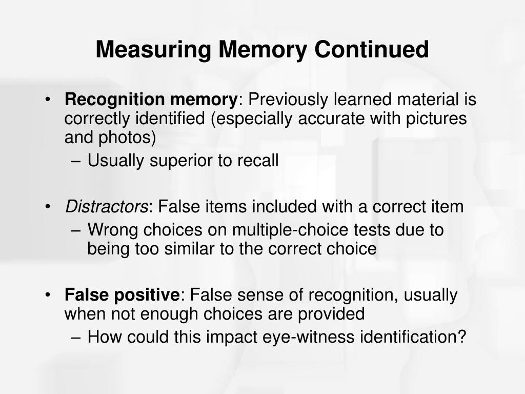 Measuring Memory Continued