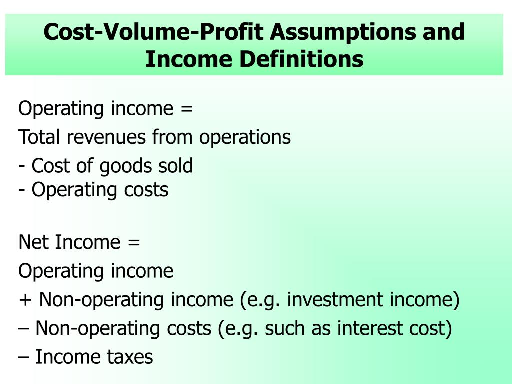 Cost-Volume-Profit Assumptions and Income Definitions