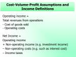 cost volume profit assumptions and income definitions