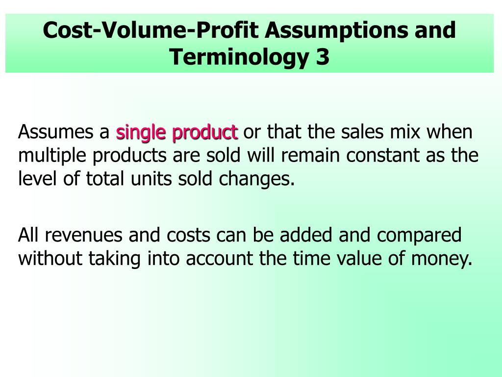 Cost-Volume-Profit Assumptions and Terminology 3