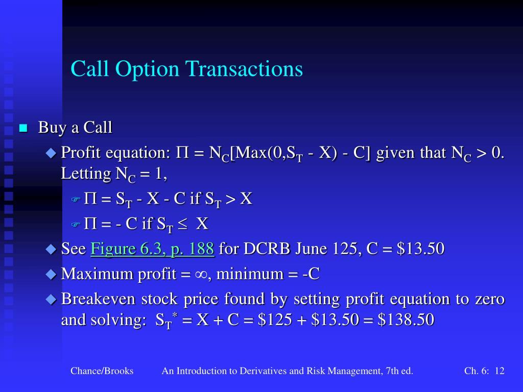 Call Option Transactions