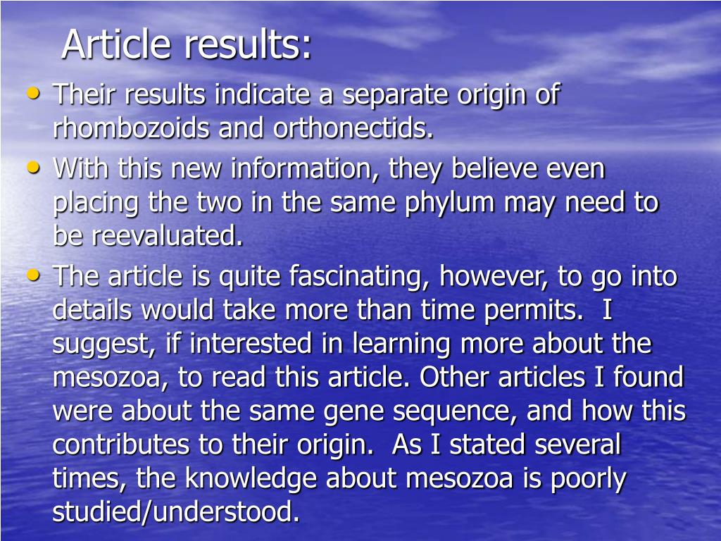 Article results: