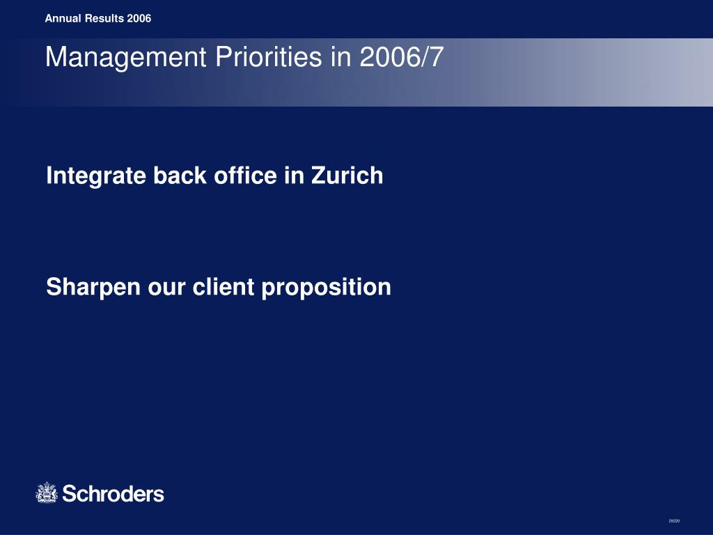 Management Priorities in 2006/7