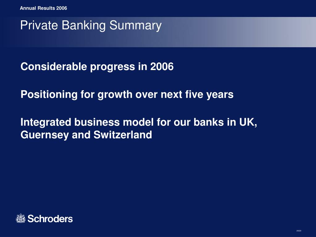 Private Banking Summary