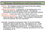 markups markdowns and cancellations