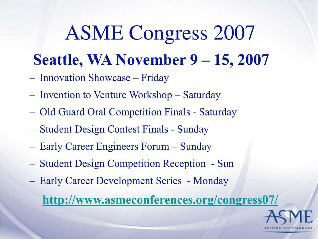 ASME Congress 2007