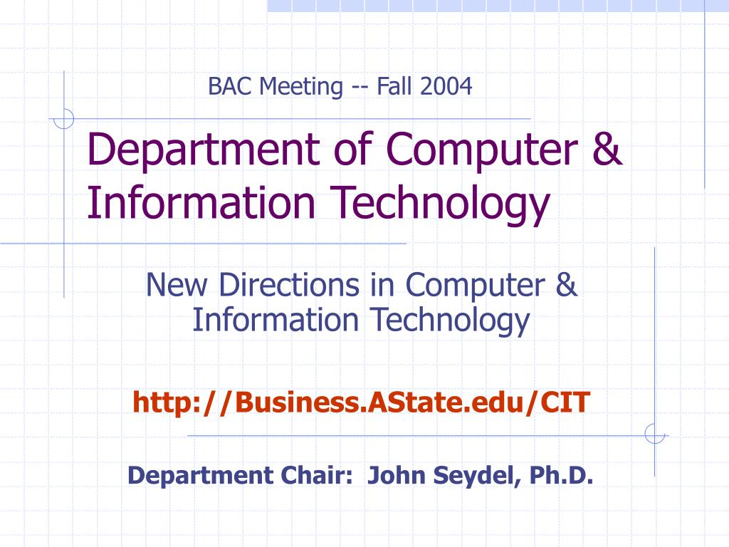 department of computer information technology l.