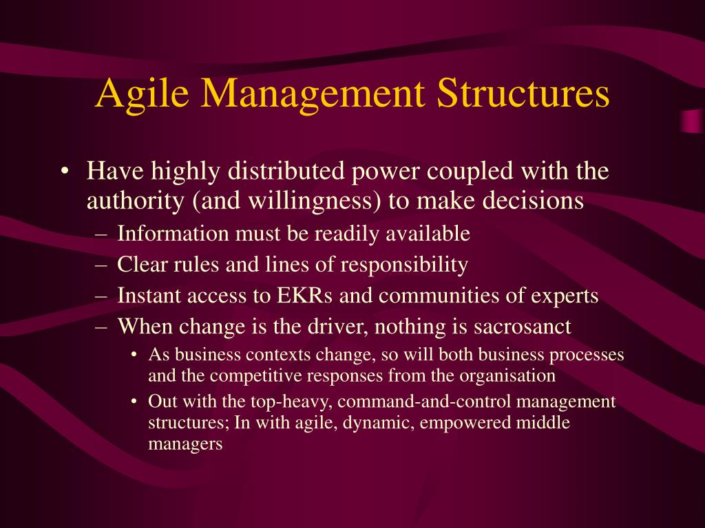 Agile Management Structures